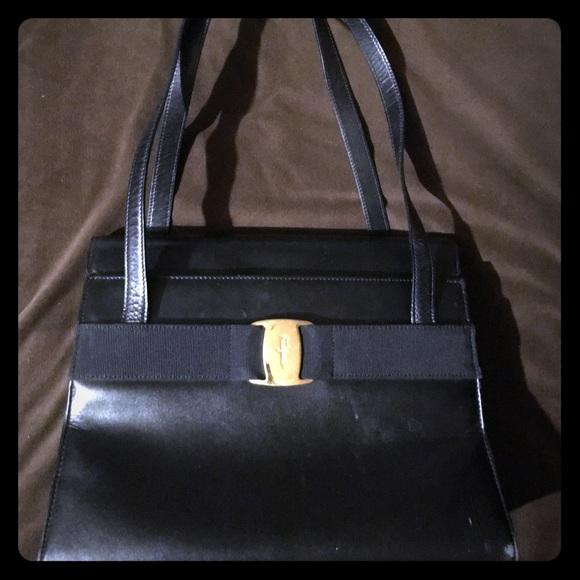 Salvatore Ferragamo Handbags - Salvatore Ferragamo Authentic Vara Black Leather